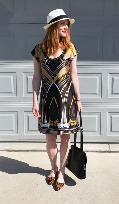 Dress, Ted Baker; hat, Aritzia; shoes, J. Crew Factory; bag, Longchamp (thrifted)