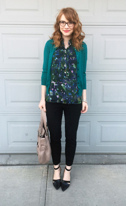 Cardigan, J. Crew Factory; top, J. Crew (via consignment); pants, BR; shoes, Nine West; bag, Marc Jacobs