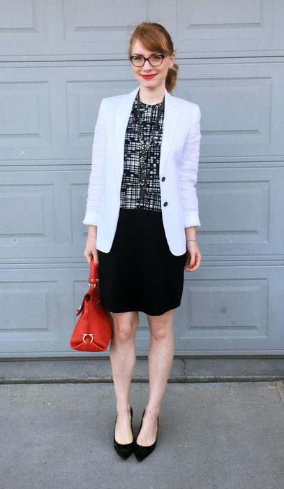 Blazer, J. Crew Factory; dress, Joe Fresh; shoes, Stuart Weitzman; bag, Ferragamo