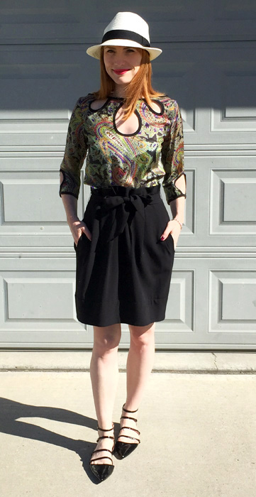 Top, Etro (via consignment); skirt, BCBG; shoes, Zara; hat, Aritzia