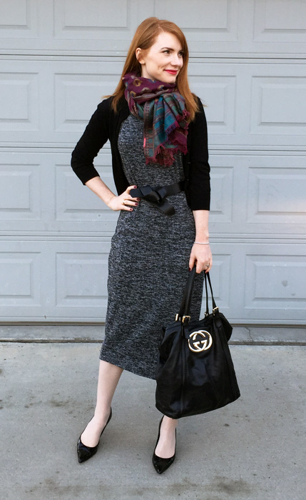 Dress, Joe Fresh; cardigan, J. Crew Factory; shoes, Stuart Weitzman; bag, Gucci (via consignment)
