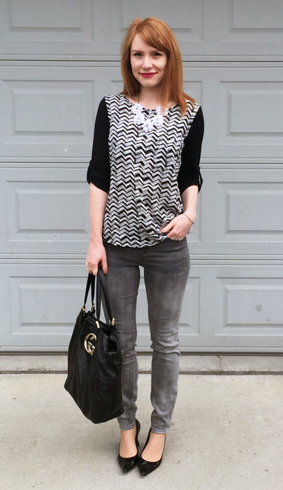 Top, Pleione; pants, RACHEL Rachel Roy; necklace, J. Crew Factory; shoes, Stuart Weitzman; bag, Gucci (via consignment)