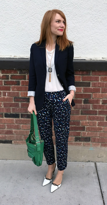 Blazer, Aritzia; top & pants, J. Crew Factory; necklace, BR; shoes, Manolo Blahnik (thrifted); bag, Marc Jacobs (via eBay)