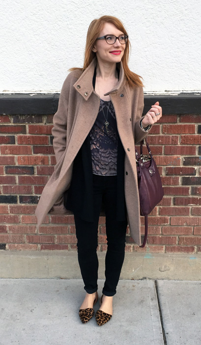 Coat, MaxMara; top, AllSaints (via consignment); cardigan, (Max Studio); jeggings, AE; shoes, J. Crew Factory; bag, MbMJ; necklace, Tiffany