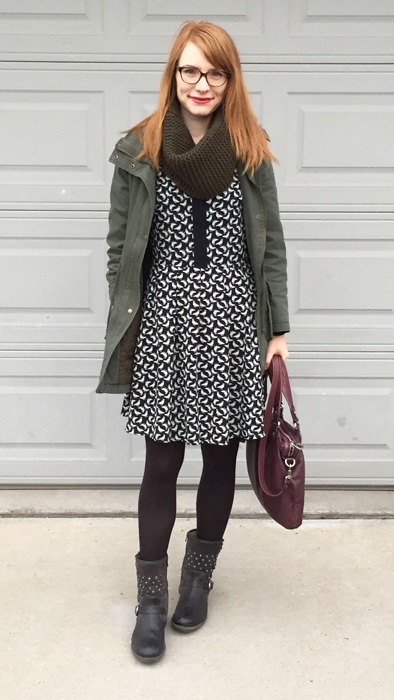 Jacket, Old Navy; dress, RACHEL Rachel Roy (thrifted); boots, Josef Seibel; bag, MbMJ