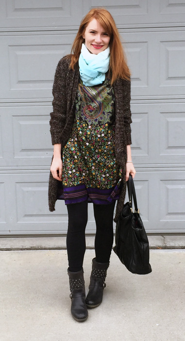 Tunic, Etro (via consignment); sweater, Zara (thrifted); scarf, gift; boots, Josef Seibel; bag, Gucci (via consignment)