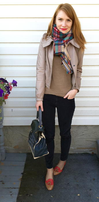 Jacket, Danier; sweater, J Crew Factory; pants, Gap (via consignment); scarf, Target; shoes, J. Crew (via consignment); bag, YSL (via eBay)