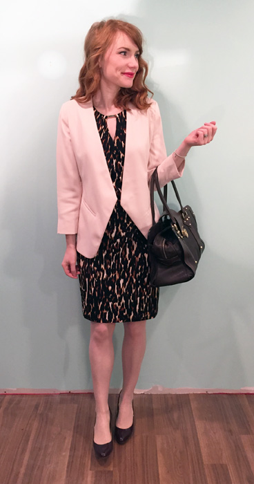 Dress, Calvin Klein; blazer, Topshop; shoes, J. Crew; bag, Mulberry (via eBay)
