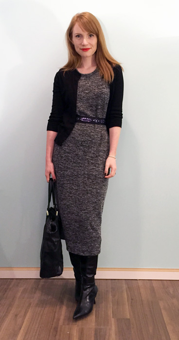 Dress, Joe Fresh; belt, Anthropologie; cardigan, J. Crew Factory; boots, Bandoline (thrifted); bag, Gucci (via consignment)