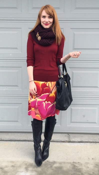 Skirt, H&M; sweater, J. Crew Factory; scarf, Aldo; shoes, Bandolino (thrifted); bag, Gucci (via consignment)