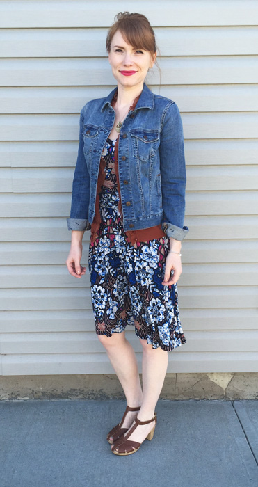 Dress, Anthropologie (via eBay); cardigan, J. Crew (via eBay); jacket, Tommy Hilfiger; shoes, Old Navy
