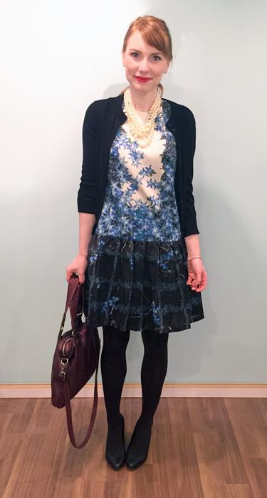 Dress, Tibi; cardigan & necklace, J. Crew Factory; bag. MbMJ; shoes, Calvin Klein