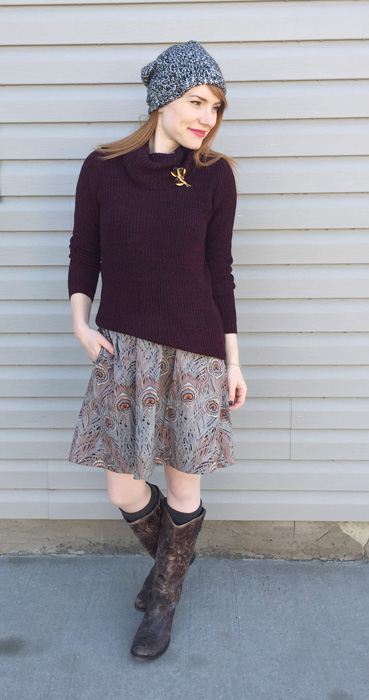 Sweater, Joe Fresh; skirt, vintage (Thrifted); boots, Frye