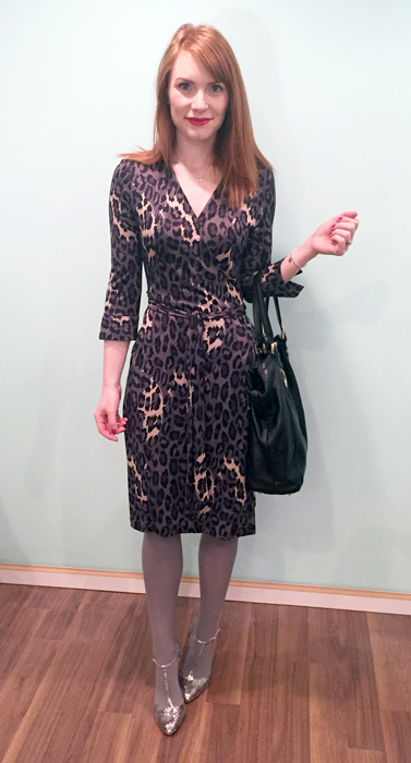 Dress, DVF (via consignment); shoes, Enzo Angiolini; bag, Gucci (via consignment)