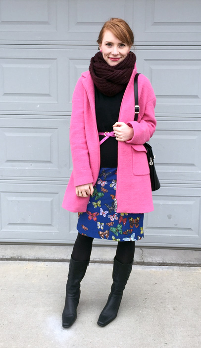 Coat, Amaryllis; sweater, J Crew Factory; dress, Anthropologie (thrifted); boots, La Canadienne (thrifted); bag, Longchamp (thrifted)