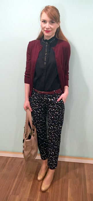 Pants, belt & cardigan, J. Crew Factory; top, J. Crew (via eBay); shoes, Stuart Weitzman (thrifted); bag, Marc Jacobs