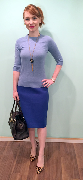 Sweater, J. Crew Factory; skirt, J. Crew (via consignment); necklace, BR; shoes, Anne Klein; bag, Mulberry (via eBay)