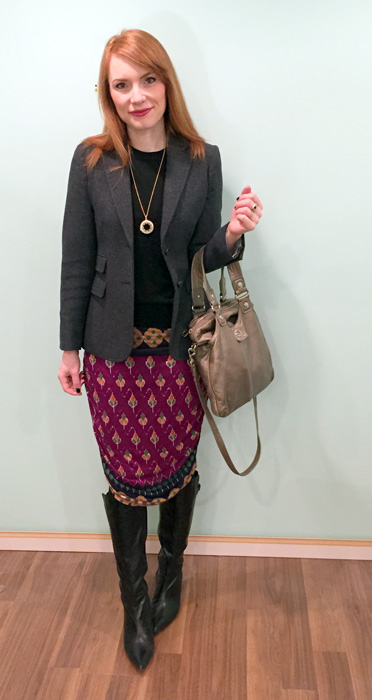 Sweater & blazer, J. Crew Factory; dress, RACHEL Rachel Roy (via consignment); boots, Bandolino (thrifted); bag, MbMJ