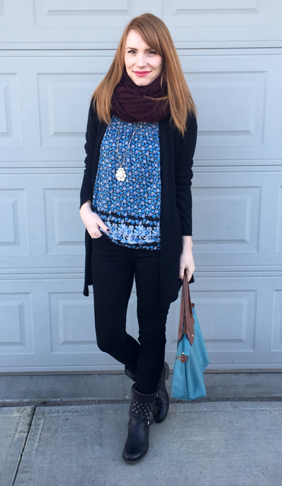 Top, Anthropologie (via consignment); cardigan, Max Studio; pants, American Eagle; boots, Josef Seibel; bag, Longchamp; scarf, Aldo; necklace, Old Navy