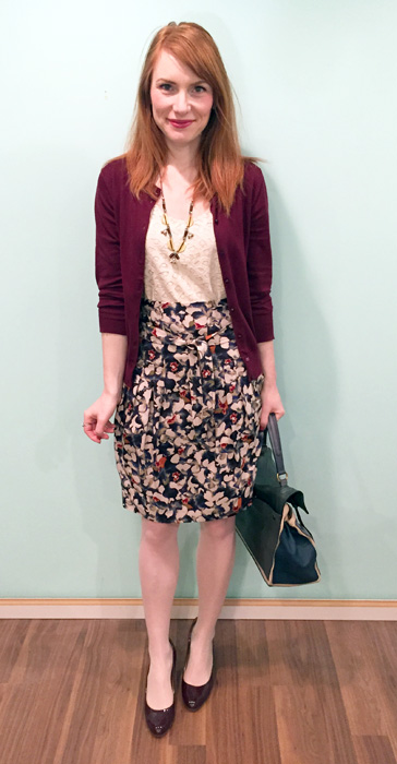 Skirt, Boss (via consignment); top, LOFT (via swap); cardigan, J. Crew Factory; necklace & shoes, J. Crew; bag, YSL (via eBay)