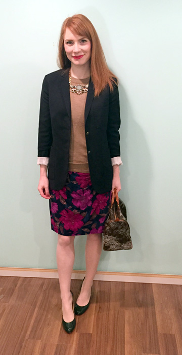 Dress, Ralph Lauren (thrifted); sweater & necklace, J. Crew Factory; blazer, Talula (via Kijiji); shoes, Ivanka Trump; bag, Louis Vuitton