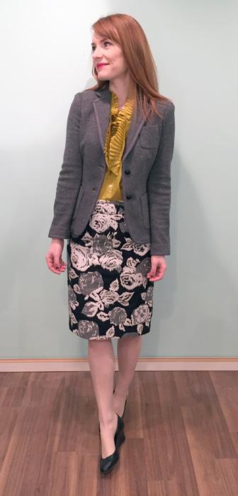 Blazer & skirt, Banana Republic (via consignment); top, J. Crew (via consignment); shoes, Calvin Klein
