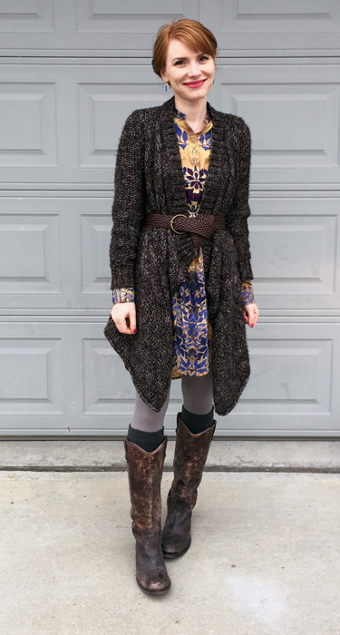 Dress, Joe Fresh; cardigan, Zara (thrifted); belt, H&M; boots, Frye