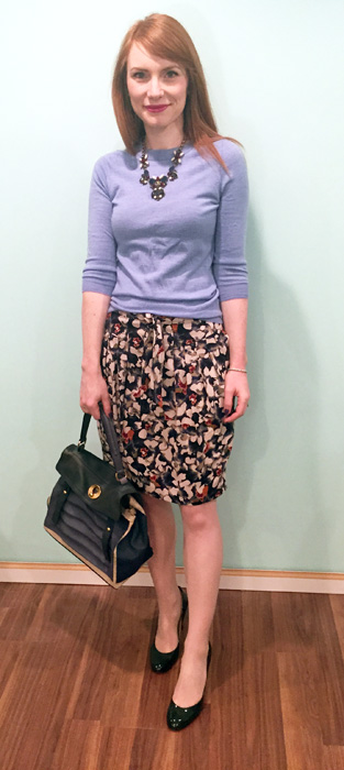 Skirt, Hugo Boss (via consignment); sweater, J. Crew Factory; necklace, J. Crew; shoes, Ivanka Trump; bag, Gucci (via consignment)