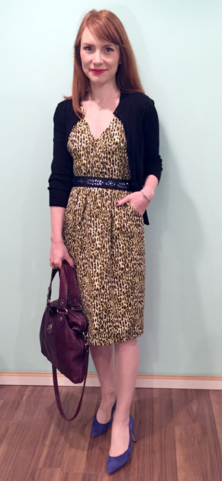 Dress, J. Crew (thrifted); cardigan, J. Crew Factory; shoes, J. Crew (via consignment); belt, Anthropologie; bag, MbMJ