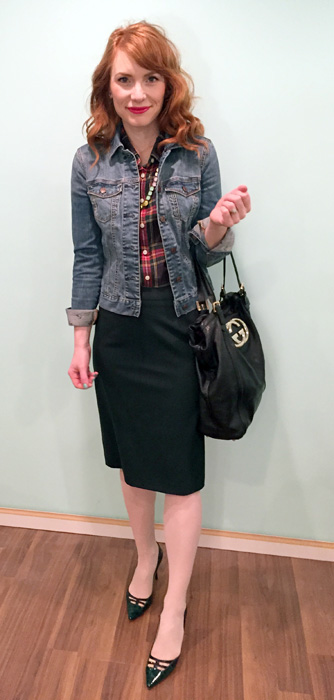 Jacket, Tommy Hilfiger; shirt, J. Crew (via consignment); necklace, J. Crew; skirt, MaxMara (thrifted); shoes, Jimmy Choo (via eBay); bag, Gucci (via consignment)