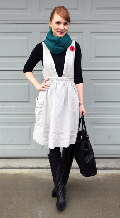 Dress, Anthropologie (thrifted); sweater, J. Crew Factory; scarf, Winners; boots, Bandolino (thrifted); bag, Gucci