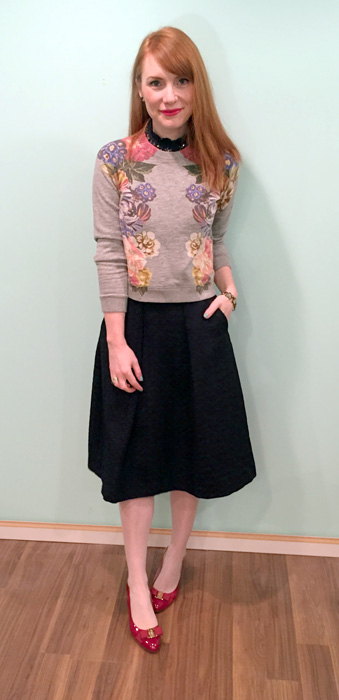 Sweatshirt, J. Crew; skirt, Zara; shirt, J. Crew (via eBay); shoes, Ferragamo (via consignment)