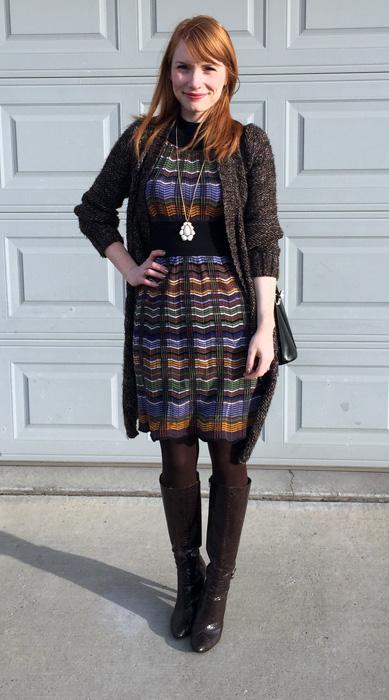 Dress, Missoni (via Kijiji); cardigan, Zara (thrifted); boots, Sam Edelman; bag, Longchamp (thrifted)