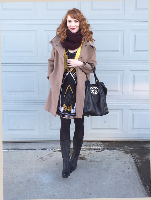 Coat, MaxMara; dress, Ted Baker (via consignment); cardigan, J. Crew (via eBay); scarf, Aldo; bag, Gucci (via consignment); boots, La Canadienne (thrifted)