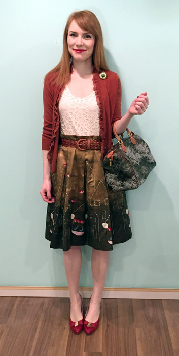 Skirt, Anthropologie (thrifted); top, LOFT (swap); cardigan, J. Crew (via eBay); belt, Holt Renfrew (via consignment); shoes, Ferragamo (via consignment); bag, Louis Vuitton (via Kijiji)
