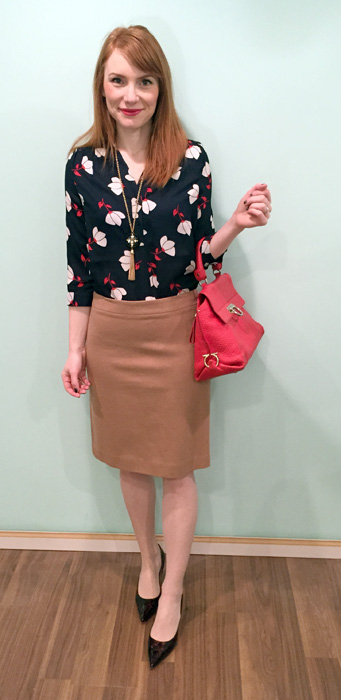 Top, Simons; skirt, J. Crew Factory; necklace, BR; shoes, Jimmy Choo; bag, Ferragamo