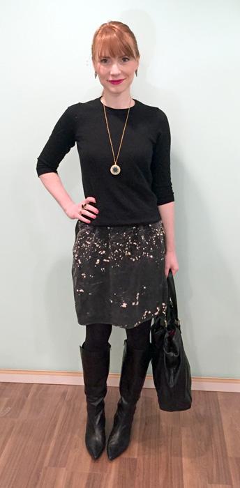Sweater, J. Crew Factory; dress, Banana Republic; boots, Bandolino (thrifted); bag, Gucci (via consignment)