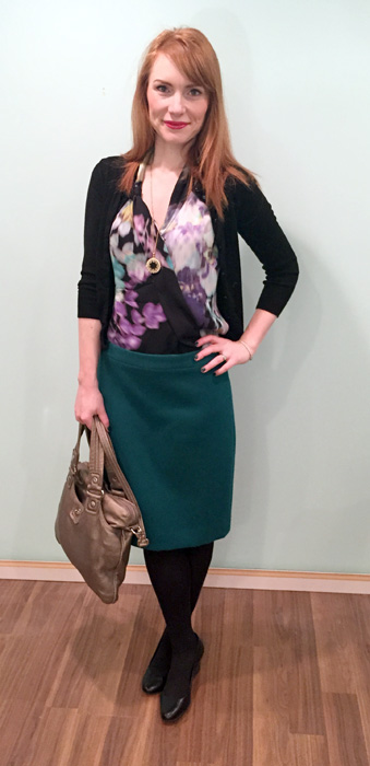 Skirt, J. Crew (via consignment); top, Elie Tahari (via consignment); cardigan & necklace, J. Crew Factory; shoes, Calvin Klein; bag, MbMJ