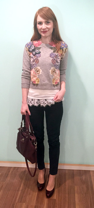 Sweater, J. Crew; top, Joe Fresh; pants, Gap (via consignment); shoes, Stuart Weitzman (via consignment); bag, MbMJ