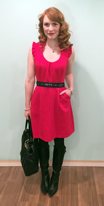 Dress, Anthropologie (thrifted): belt, Anthropologie; necklace, Swarovski; boots, Bandolino (thrifted); bag, Gucci (via consignment)