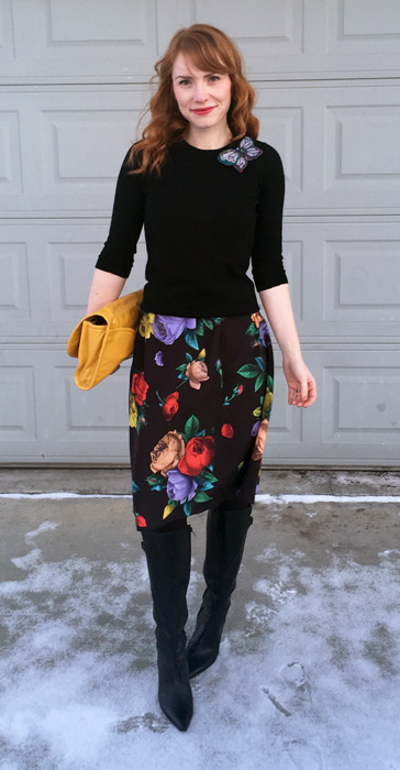 Dress, Moschino; sweater, J. Crew Factory; bag, MbMJ (via consignment); boots, Bandolino (thrifted)