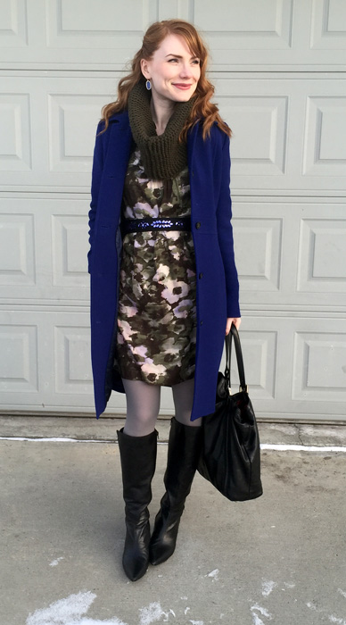 Dress, Simply Vera (thrifted); coat, J. Crew (via Kijiji); boots, bandolino (thrifted); bag, Gucci (via consignment)