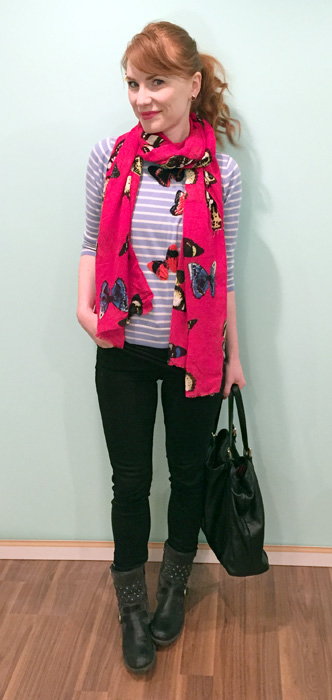 Sweater & scarf, J. Crew (via eBay & consignment); pants, AE; boots, Josef Seibel; bag, Gucci (via consignment)