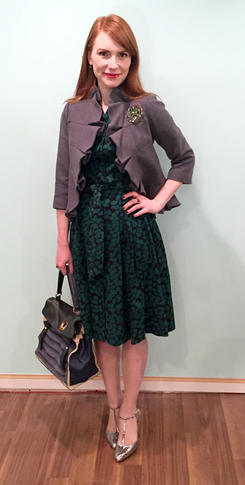 Dress, Boden (swap); jacket, Anthropologie; shoes, Enzo Angiolini; bag, YSL (via eBay)