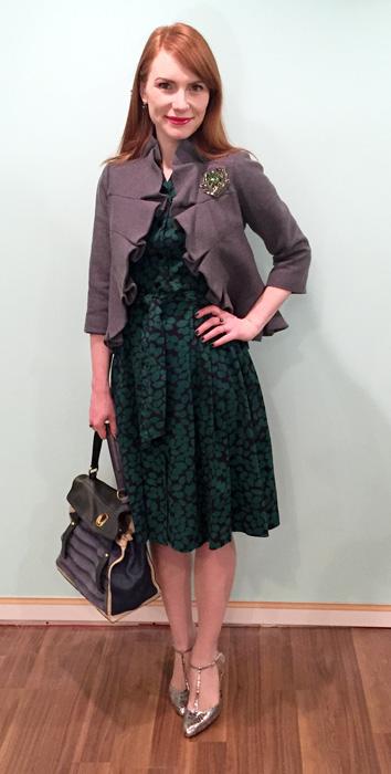 Dress, Boden (swap); jacket, Anthropologie; shoes, Enzo Angiolini; bag, YSL (via eBay)