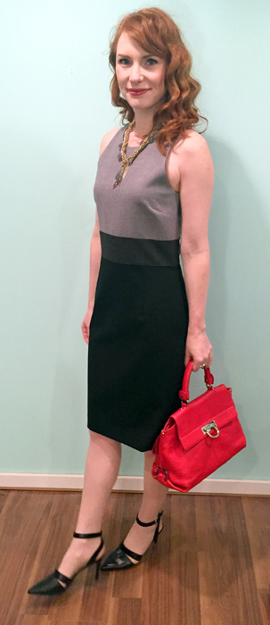 Dress, Pink Tartan (via consignment); necklace, BR; shoes, Nine West; bag, Ferragamo