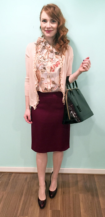 Blouse, skirt & cardigan, J. Crew (via consignment); shoes, Stuart Weitzman (via consignment); bag, Louis Vuitton (via consignment)