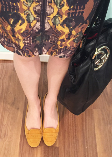 details: mustard yellow loafers