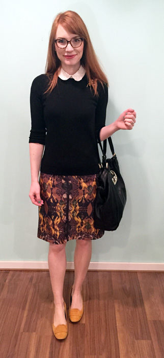 Sweater, J. Crew Factory; blouse, Club Monaco (via consignment); skirt, Boss (thrifted); shoes, Tods; bag, Gucci