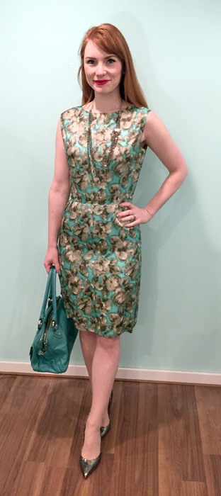 Dress, vinatge (thrifted); shoes, Ivanka Trump; bag, Marc Jacobs (via eBay)
